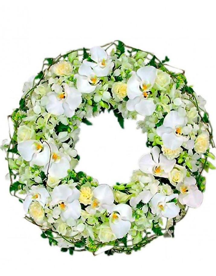 Corona de orquídeas para funerales