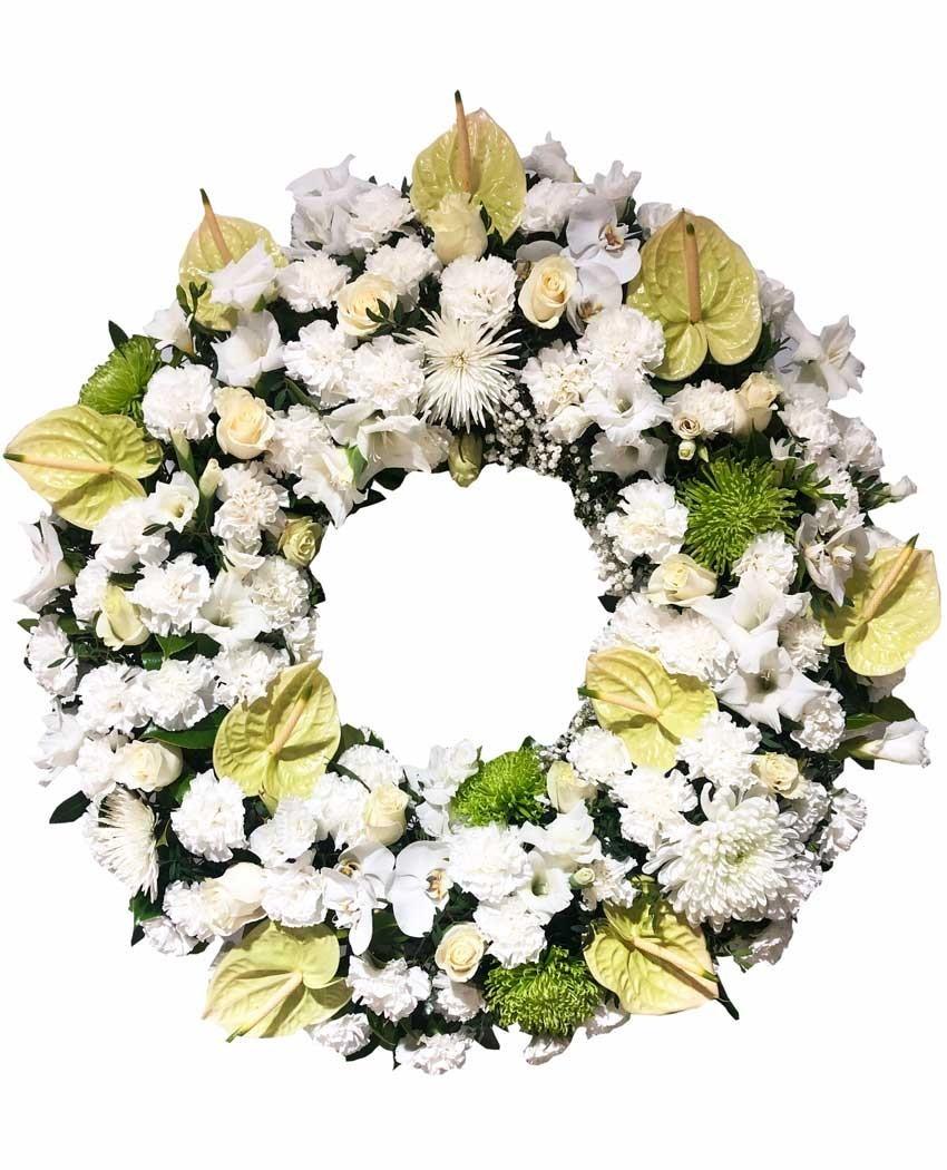 Corona para funeral en tanatorio