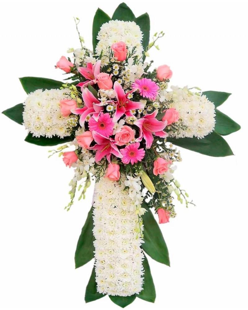 Cruz de flores tanatorio la paz tres cantos