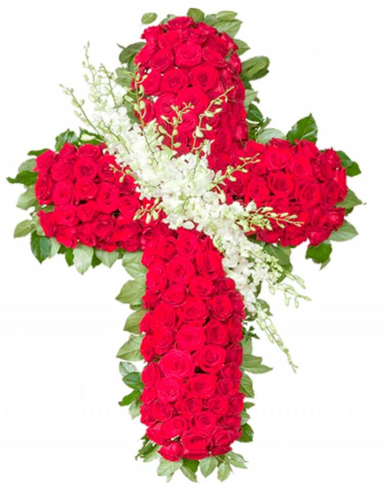 Cruz de rosas rojas para funeral