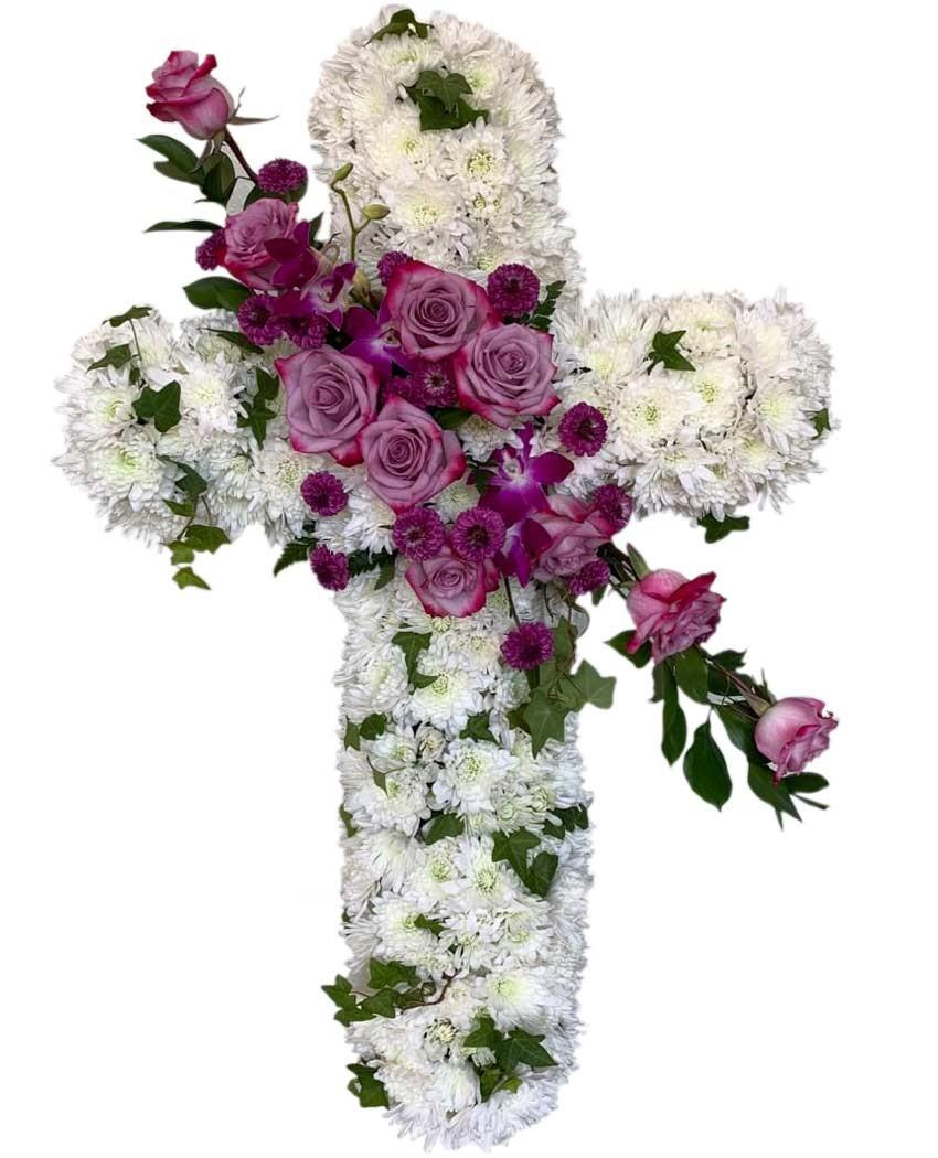cruz de flores para funeral en tanatorios de madrid