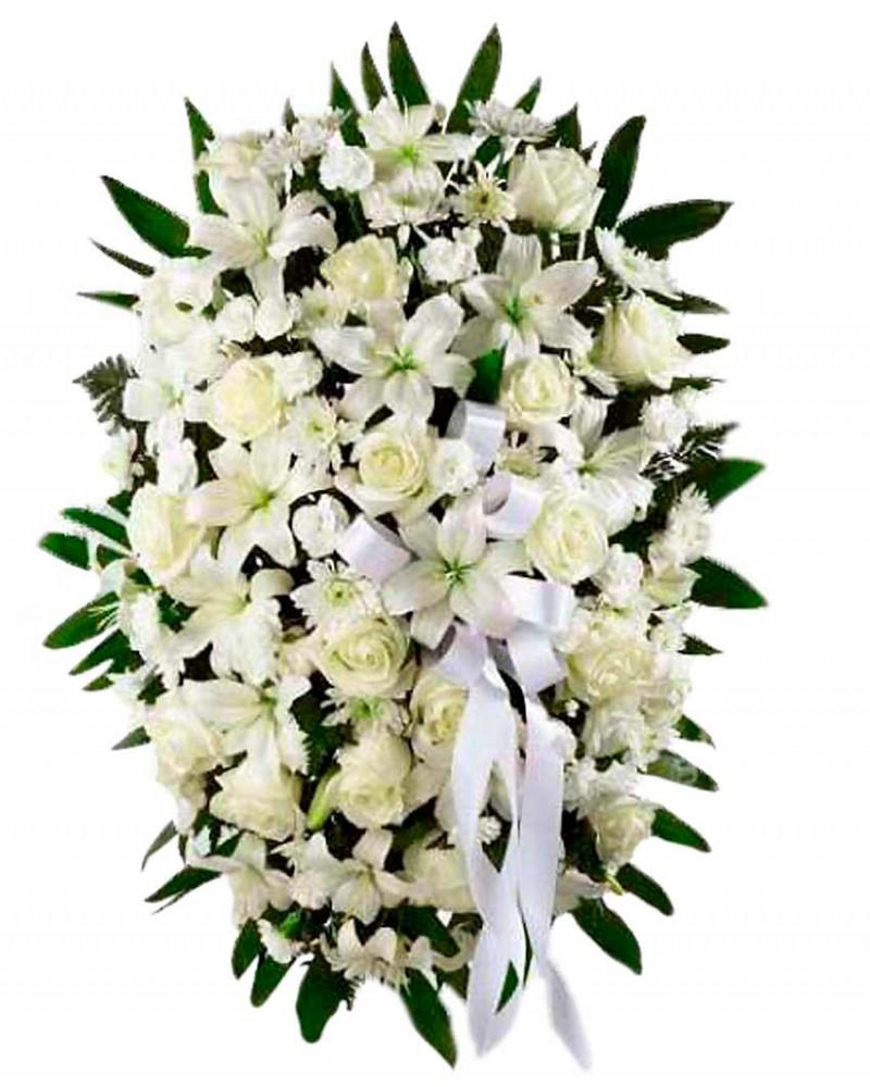 Palma fúnebre de flores blancas
