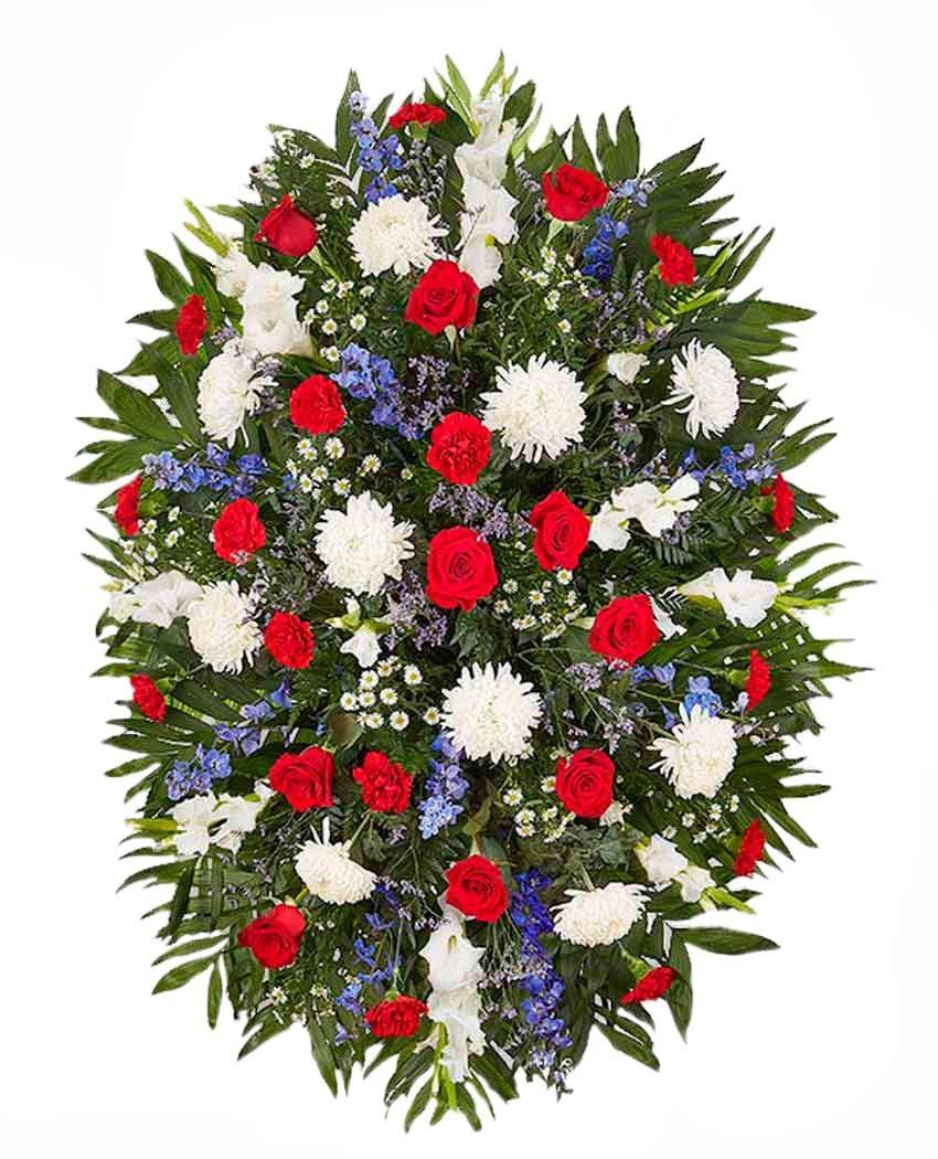 Palma de flores funerarias en tanatorios de Madrid