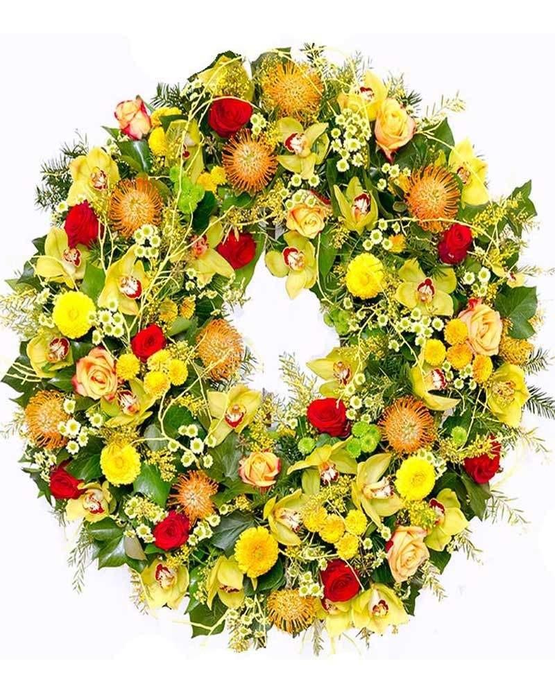 Corona de orquídeas para funeral